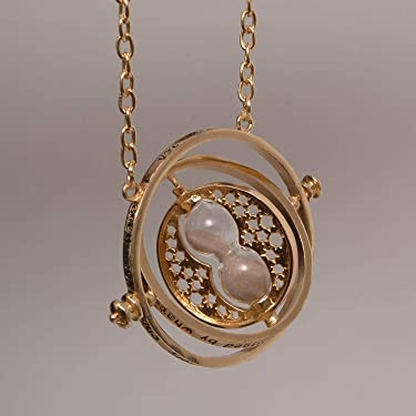 Necklace of Harry and Hermione Rotating Hour Glass, Gold Sand