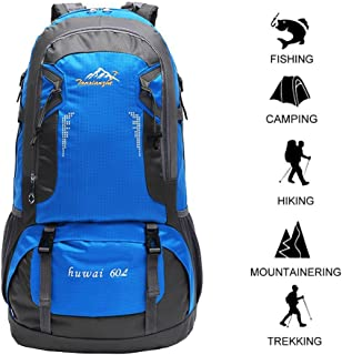 60 L Waterproof Lightweight Climbing Fishing Backpack Hiking Daypack,Handy Foldable Camping Outdoor Backpack Bag(Blue)