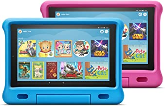 """Fire HD 10 Kids Edition Tablet 2-Pack, 10"""" HD Display, 32 GB, Kid-Proof Case - Blue/Pink"""