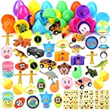 YEAHBEER 48 Pack Toys Filled Easter Eggs, Prefilled Plastic Eggs with Small Toys Inside, for Easter Party Favors, Easter Eggs Hunt and Basket Stuffers Fillers (2.0 in)