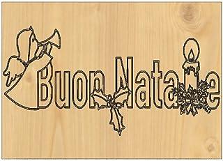QUADRO in legno da muro con incisione BUON NATALE Angelo e Cero natalizio Idea regalo originale Decorazione casa