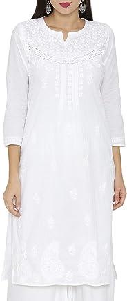 ADA Handmade Lucknow Chikankari Womens Cotton Kurti Kurta (A332395_White)