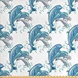 Lunarable Dolphin Fabric by The Yard, Happy Dolphins Jumping and Swimming in Deep Water Grey and Blue Mammals, Decorative Fabric for Upholstery and Home Accents, 1 Yard, Slate Blue