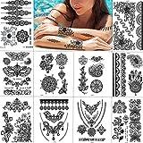 SZSMART Schwarz Temporäre Tattoos Mode Body Art Aufkleber, wasserdichte Fake Tattoos, Tattoos Aufkleber Körper Schmuck für Urlaub Geschenk Mädchen und Junge Frauen