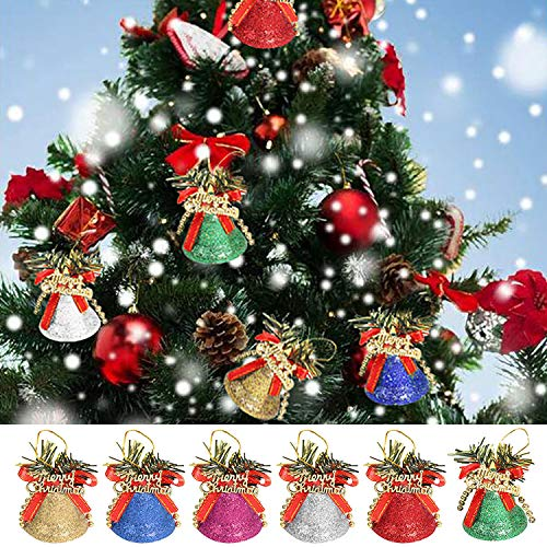 Kalolary 6PCS Christmas Bells for Christmas Tree Decoration 6 Color Shatterproof Glitter Bell Ornament Xmas Supplies Attractive Holiday Festival Decor