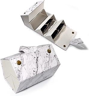 فلورا جيول 5 فتحات جلدية لتنظيم السفر حقيبة عرض نظارات متعددة صندوق تخزين للرجال والنساء ، رخامي متوسط