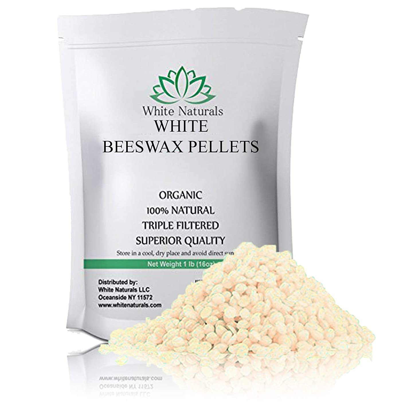 White Beeswax Pellets 8 oz, Pure, Natural, Cosmetic Grade, Top Quality Bees Wax Pastilles, Triple Filtered, Great For DIY Lip Balms, Lotions, Candles By White Naturals