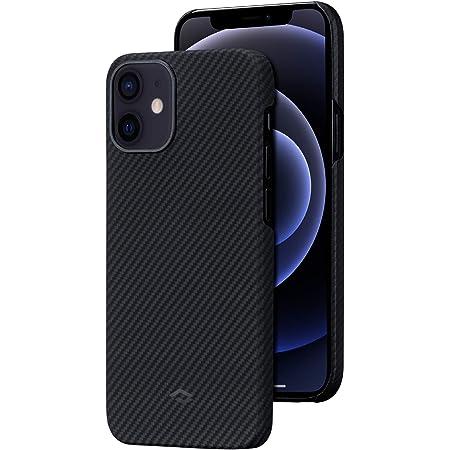 「PITAKA」Air Case iPhone 12 対応 ケース 600Dアラミド繊維製 カーボン風 デザイン 極薄(0.65mm) 軽量(8g) 耐衝撃 保護 カバー ワイヤレス充電対応 ミニマリスト シンプル 6.1インチ(黒/グレーツイル柄)