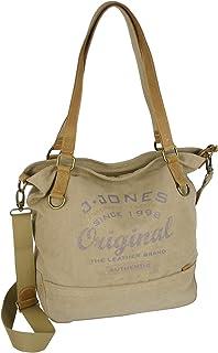 JENNIFER JONES Großer Damen Shopper aus Canvas und Echtleder Vintage Look Casual Schultertasche Umhängetasche Farbe Beige...