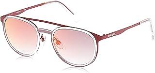 نظارة شمسية للجنسين من ديزل طراز DL029367U53 - بلون احمر غير لامع/ احمر داكن، بعدسات عاكسة، باطار معدني