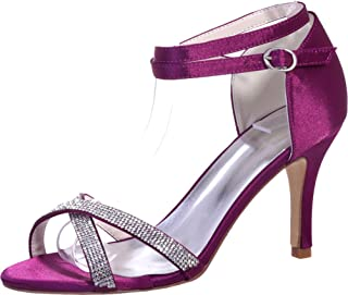 Vimedea Womens Ankle Strap Heeled Sexy Sandals Wedding Bride Open Toe Satin 9920-05