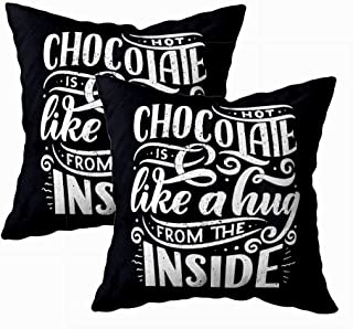 TOMWISH Couch Pillow Covers, 2 Packs Zippered 18X18Inch hot Chocolate Lettering Composition Drawn Quote Christmas Signs Cafe Bar and Restaurant Thanksgiving Decorative Cushion Cover for Home Decor