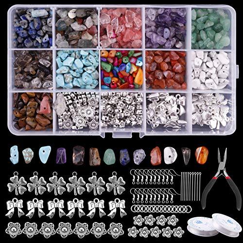 Umisu - Kit de fabricación de joyas con piedras naturales irregulares, perlas con encanto para fabricación de pendientes, collar, pulsera DIY, 923 piezas