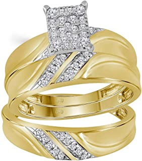 Mia Diamonds 10k Yellow Gold Diamond Cluster Matching Trio His & Hers Wedding Ring Band Set (.35cttw) (I2-I3)- Available Sizes From - 5 to 11