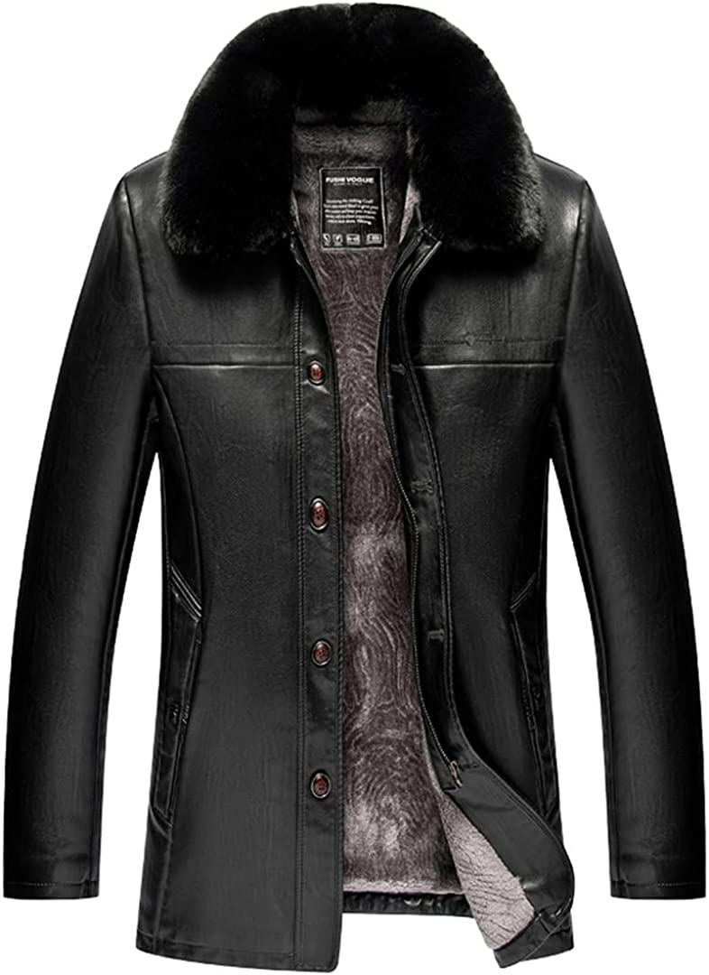 Mens Clothing Middle Aged Leather Fur Collar Plush Thick Overcoat Winter Sheepskin Warm Coat Jacket