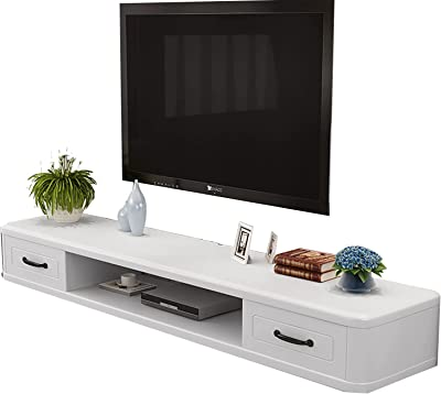 Floating TV Stand Floating TV Stand Component Shelf, Multimedia Console, White Paint Surface with Cable Hole (Color : A, Size : 120CM)