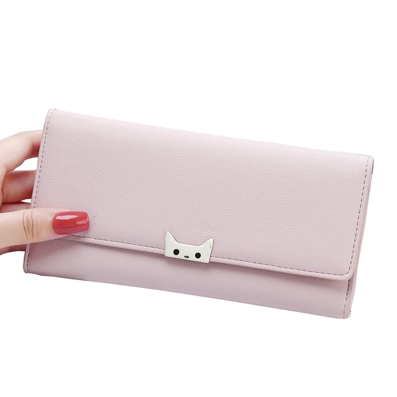 長財布 レディース 三つ折り 大容量 多機能 人気 おしゃれ ウォレット カード収納 小銭入れ 写真入れ 軽量 無地 ねこ 19.5*9.5*2.2cm 全5色