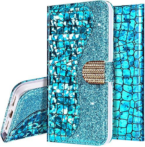 Surakey - Funda para Samsung Galaxy J6 Plus 2018, piel sintética con purpurina con soporte, ranuras para tarjetas, cierre magnético, [monedero] [correa de mano] para mujeres y niñas, azul