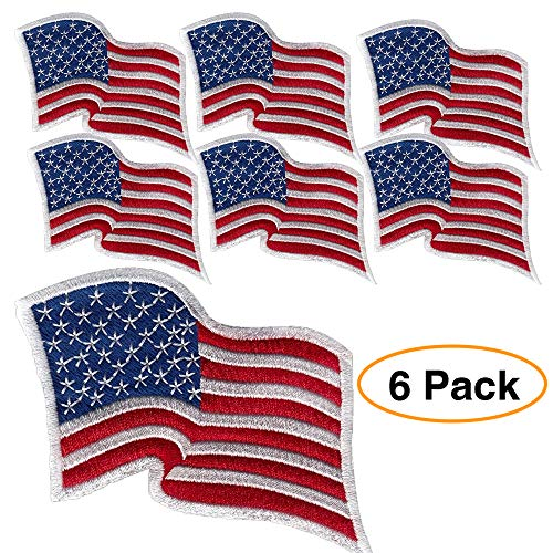 6 Pack – American Flagge bestickt Patch gewellt, weiß Bordüre USA United States of America, US Flagge Patch, genäht auf