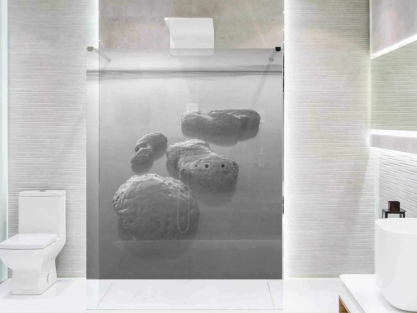 Vinilo Transparente para Mamparas de Ducha y Baños Piedras Lago Blanco y Negro | Varias Medidas 185x60cm | Adhesivo Resistente y de Fácil Aplicación | Pegatina Adhesiva Decorativa de Diseño Elegante: Amazon.es: Hogar