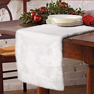 Noël Chemin de Table Nappe en fausse fourrure White Party de Noël napperon de vacances Décoration de table, linge de table...