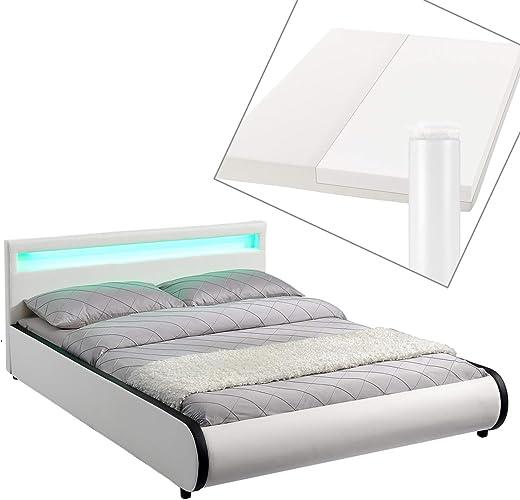 ArtLife Polsterbett Sevilla 140 x 200 cm – Französisches Bett mit Matratze, Lattenrost & LED – Holz & Kunstleder – weiß – Jugendbett Gästebett