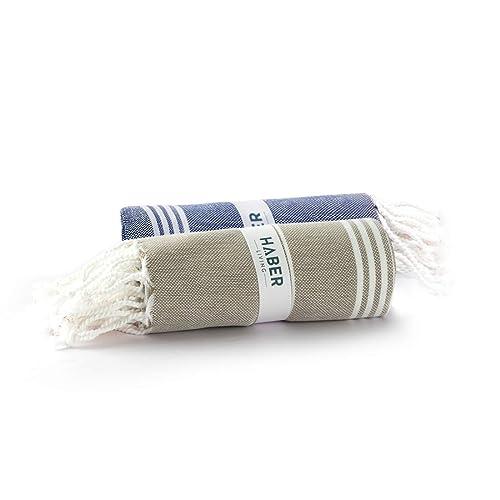 Haber - Turkish Style Cotton Bath Towel - Aura Collection (Pack of 2, Blue & Beige)
