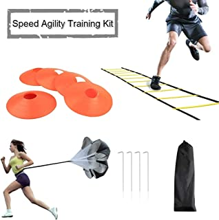 JEMPET Speed Agility Training Kit-Includes Agility Ladder, 5 Round Training Cones, Resistance Parachute, 4 metal Stakes & Carrying bag,Sport Training Set for Faster Footwork and Better Movement Skills