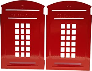 Vintage Fashion British Style London Telephone Booth Heavy Duty Nonskid Iron Metal Bookend Decorative Book Holder Organizer for Office School Library Home Study Decoration Gift (Red)