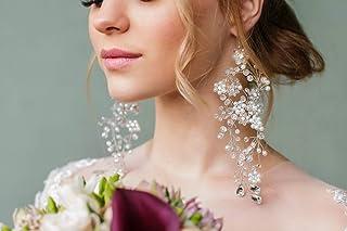Denifery Earrings Chandelier Earrings Bridal Crystal Earrings Wedding Winter Dangling Earrings Statement Leaf Earrings Pea...