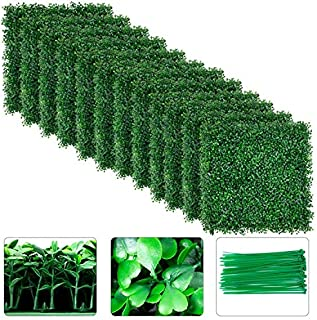 Amagabeli 4 Layers Leaves Artificial Boxwood Panels Topiary Hedge Plant UV Protected Privacy Hedge Screen High-Density Gre...