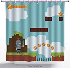 MyCCIC Cool Shower Curtain/Video Games,Arcade World Kids 90S Fun Theme Knight with Sword Fireball Bonus Stars Coins,Multicolor/Polyester Bathroom Accessories Home Decoration