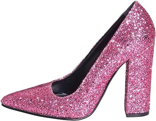 Chaussure Chaussures Decollete en Paillettes Fuchsia Taille Nombre 35Talon 10cm Made in  Cuir véritable étude créations egx-06