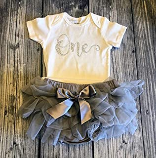 First birthday outfit - Cake smash outfit - First birthday girl - birthday bodysuit - pink birthday outfit - gray tutu - girls first birthday - 1st birthday - silver glitter - gray tutu bloomers