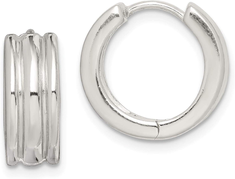 Sterling Silver Ridged Hoop Earrings Hoopearrings