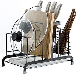 N / A Soporte para la Tapa de la Olla del Estante de la Tabla de Cortar, Soporte de exhibición del mostrador de Almacenamiento de la Cocina, Material de Acero Inoxidable
