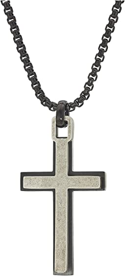 "Two-Tone Cross Necklace with 18"" Box Chain"