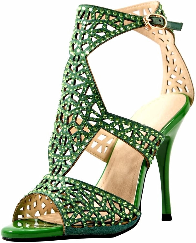 Jiu du Women's Cut Out Stiletto High Heel Peep Toe Bootie Rhinestone Heeled Sandals