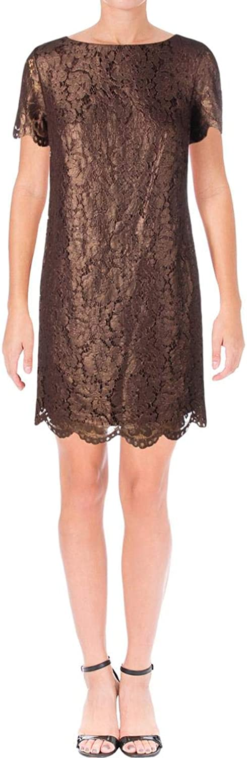 Lauren Ralph Lauren Womens Short Sleeves KneeLength Cocktail Dress Brown 12