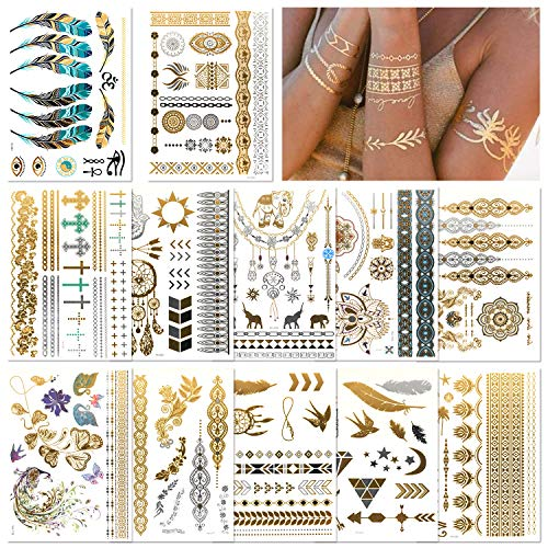 DYFFLE Festival Ausrüstung Temporäre Tattoos - Wasserdicht Festival Glitzer Goldene Tattoos, Henna Tattoo Farbe Über 200 Mustern für Festival Kleidung Dame, Frauen, Jugendliche Mädchen
