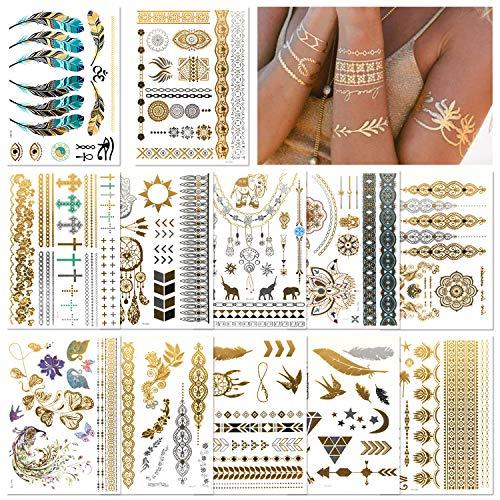 Tattoo Gold - 12 Blätter Flash Tattoos Wasserdicht Festival Glitzer Goldene Tattoos, Temporäre Tattoos Festival Ausrüstung Über 200 Mustern für Festival Kleidung Dame, Gold Tattoo, Festival Tattoos