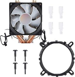 cigemay CPU Cooler, Cooler Master Cooling Fan 9CM Double Fan 4 Tubo de Cobre Heatpipes Cooler, Cojinete hidráulico, 20,000 Horas de Vida, para Intel LGA775, para Core i3/i5/i7