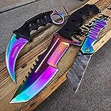 EDC 3 PC Rainbow COMBO Counter Strike CS:GO TACTICAL Hawk Claw Karambit + HUNTSMAN Fixed Blade Knife + Miniature 6.5' EDC Folding CLEAVER Pocket Knife GIFT SET SURVIVAL KIT CAMPING GEAR