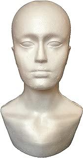 Hometom Male Styrofoam Hat Glasses Hair Wig Mannequin Stand Display Head Model Chest (white)