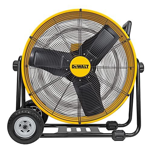 "DEWALT DXF-2490 High-Velocity Industrial, Drum, Floor, Barn, Warehouse Fan, Heavy Duty Air Mover with Adjustable Tilt & Large Wheel, 24"", Yellow"