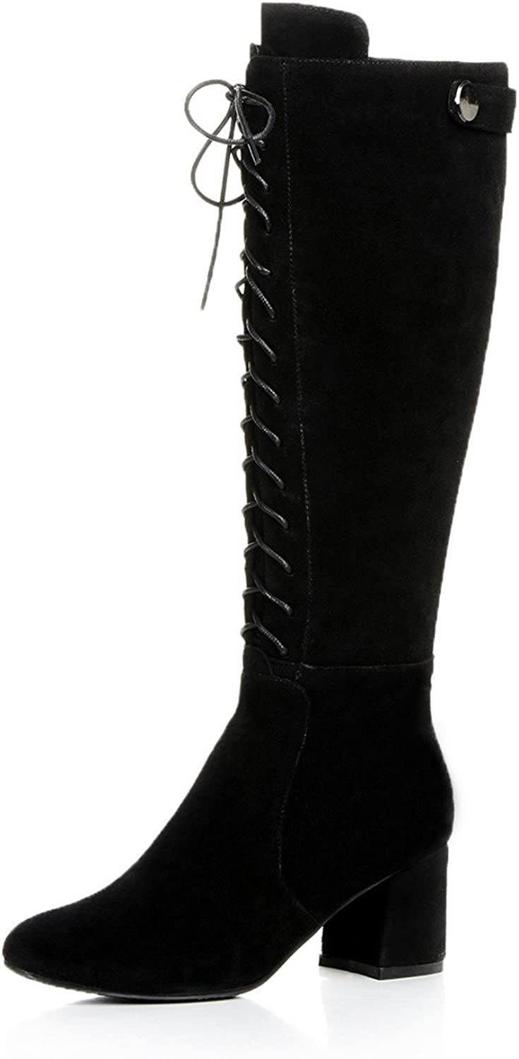 Nine Seven Suede Leather Women's Round Toe Chunky Heel Lace Up Knee High Handmade Boot