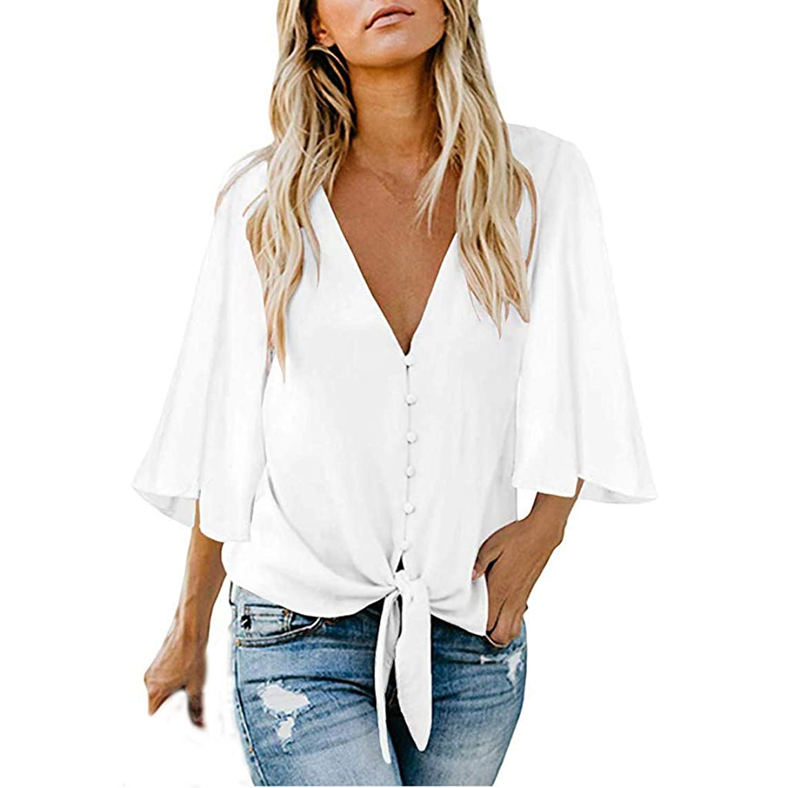 DONTAL Women's Casual Three Quarter Sleeve V Neck Button Top Patches Blouse Shirt