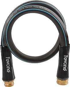 Fevone 3ft Lead-in Water Hose, Hybrid Polymer Garden Hose, 5/8 inch Heavy duty Water Hose, Flexible Gardern Water Hose