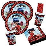 Amscan/Hobbyfun Set de fiesta de 44 piezas de Miraculous Ladybug, platos, vasos, servilletas y pajitas para 8 niños