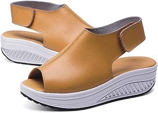 ee2ae06b816 Hishoes Plataforma Sandalias Mujer Cuero Cuña Confort Peep Toe Tacón  Zapatos Para Caminar Playa Sandalias del